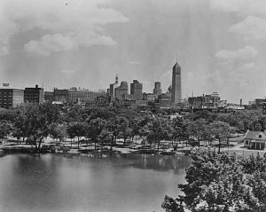 Mpls skyline from Loring Park 1945